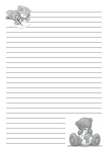 Me To You Lot de 25 feuilles de papier à lettre pré-imprimé Motif ourson Format A5