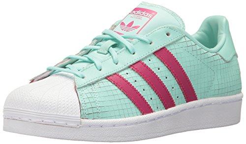 adidas Originals Damen Superstar Sneaker, Grün - Ice Green Ice Green Bold Pink - Größe: 39.5 EU