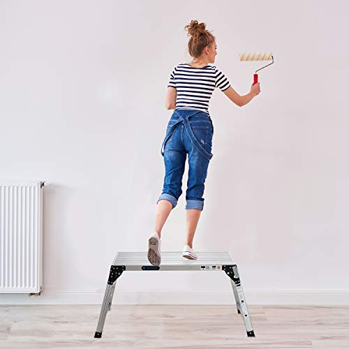 Adjustable Work Platform with 330 lb Duty Rating, Portable Folding Aluminum Step Ladder, Ideal for Washing Vehicles, Cleaning Windows, Decorating, etc.