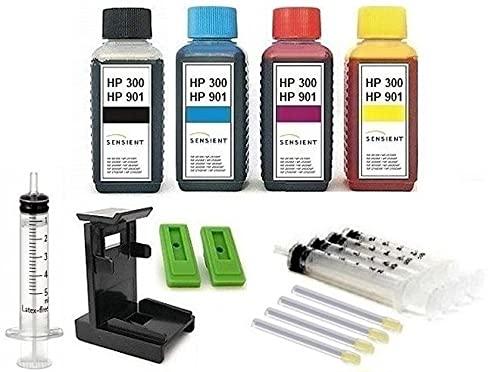 Tintenpatronen Nachfüllset - 4 x 100 ml SENSIENT Nachfülltinte black cyan magenta yellow kompatibel mit HP 300 + HP 901 (XL) black & color, mit Adapter, Befüll-Anleitung, Zubehör