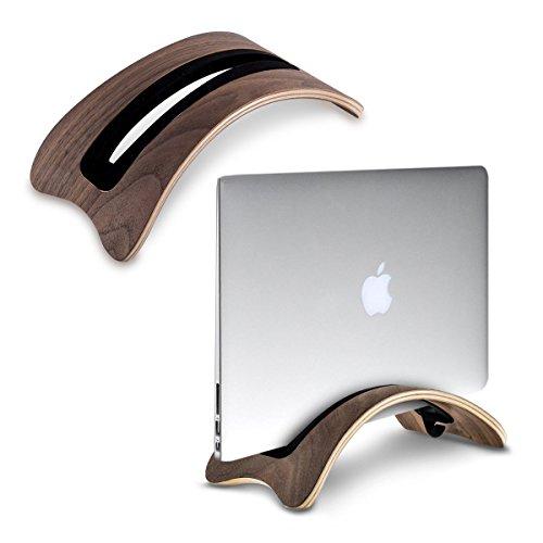 SAMDI Vertikaler Ständer für MacBook Laptop, Holz Schutzhülle Notebook Ständer Halterung mit 4 Soft Silikon fügt Ersatz für Apple MacBook Air Pro Retina Black Walnut