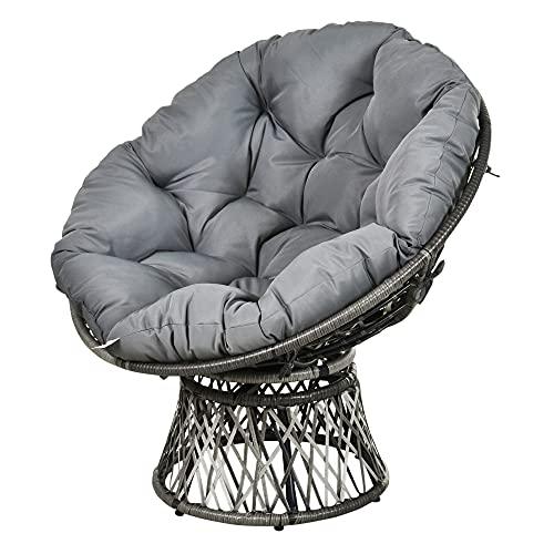 Outsunny Papasansessel Korbsessel Sessel mit Polster 360 Grad Rattan Grau B87 x T97 x H86 cm