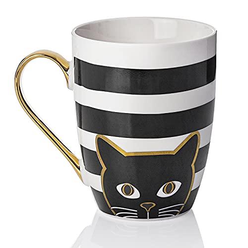 Weltbild Tasse Katze Porzellan Kaffeebecher - Kaffeebecher Porzellan mit Katzen Deko als tolles Geschenk Katzenliebhaber | Katzen Tasse für Tee in schwarz/weiß mit Gold Details - Füllmenge 340 ml