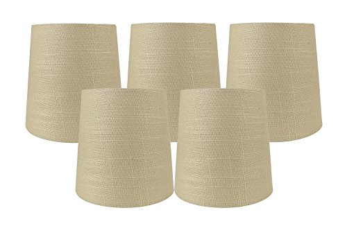 Meriville Kronleuchter-Lampenschirme zum Aufstecken, Mais-Leinen, 10,2 x 12,7 x 12,7 cm, 5 Stück
