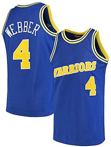 jiaju Ropa Baloncesto para Hombre NBA Jersey Warriors 4# Webber Retro 2021 Transpirable Secado rápido Resistente al Desgaste Vestima sin Mangas Top para Deportes, Azul, XXL (Color : Blue, Size : XXL)