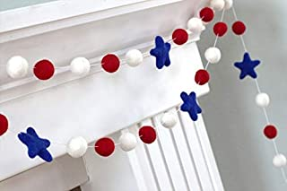 "Patriotic USA Felt Balls and Stars Garland- Red, White, Royal Blue- 1"" (2.5 cm) Wool Felt Balls"