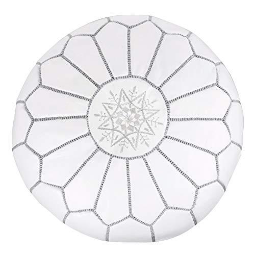 ALMADIH Pouffe Blanco otomano bordado Cojín de cuero genuino Taburete - 100% hecha a mano - 50x35 cm Cojín de suelo marroquí oriental Asiento para silla de pie Salón o dormitorio Reposapies Puf Poof