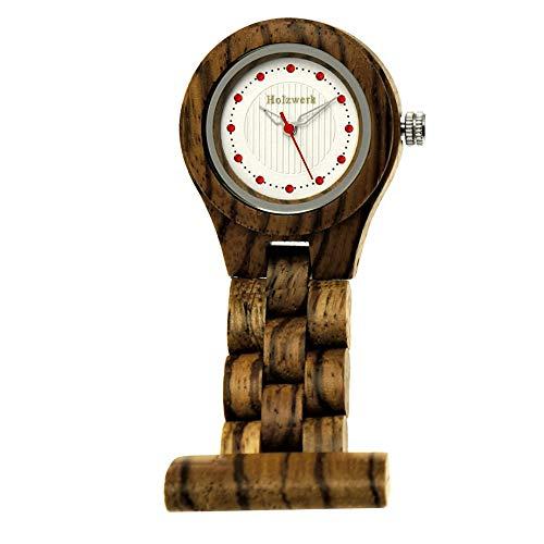 Handgefertigte Holzwerk® Schwestern-Uhr Taschen-Uhr Ansteck-Uhr Puls-Uhr Kittel-Uhr Pflegeuhr-Uhr Öko Natur Holz-Uhr Braun Weiß Krankenschwester-Uhr Analog Quarz-Uhr (Krankenschwester-Uhr-Braun)