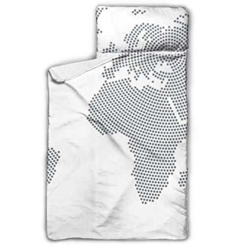 Mapa del mundo Continente y océano Sacos de dormir para niños Alfombrillas para niñas para preescolares Niñas con diseño de manta y almohadas enrollables Ideal para preescolares Guarderías para niños