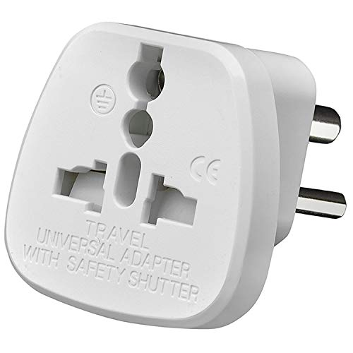 TEC UK - 2 X UK to India Travel Adapter, 3 Pin Prong Plugs for Visitor from UK, Europe, USA, Australia to India (PACK OF 2)