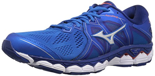 Mizuno Men's Wave Sky 2 Running Shoe, Directoire Blue/Cherry Tomato, 10 D US