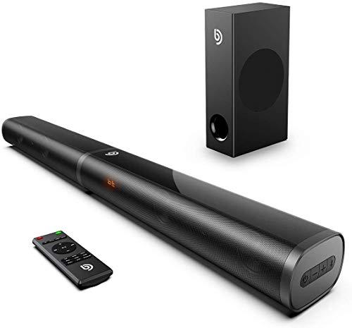 Bomaker Soundbar mit Subwoofer 2.1 Kanal,190W Soundbar für TV Gerät, Bluetooth 5.0, Einstellbarer Bass und DSP-Technologie(mit HDMI ARC, USB, Optisch,AUX und Bluetooth) für Heimkino