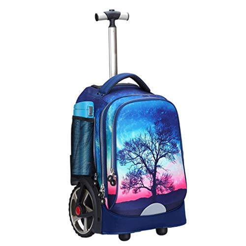 LYRWISHLY Wheeled Backpacks - Nylon Rolling Backpack with Wheels Trolley Backpack for Travel Kids Teenagers Students,Multifunction Wheeled Backpack Luggage (Size : G)
