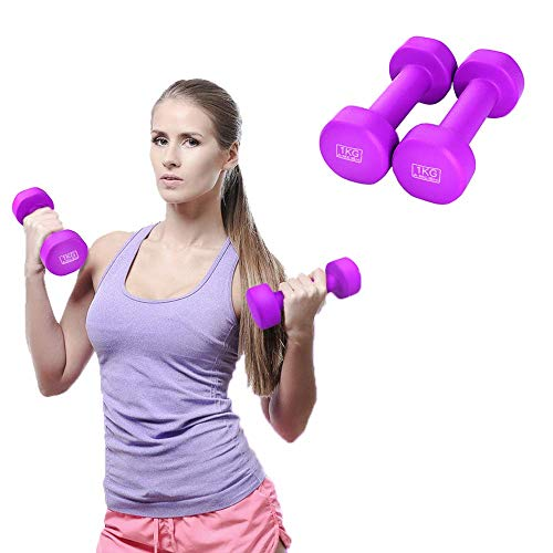 2 Pack Dumbbells, Resistant to Sweat and Moisture for Weights Home Gym Exercise, Dumbbell Set 2Kg/4Kg/6Kg/10Kg,Purple 1kg / Piece