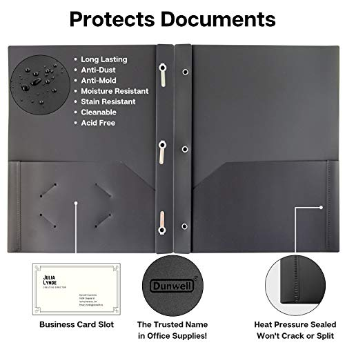 Dunwell Black Folders with Prongs and Pockets- (12 Pack of Folders) Plastic Folders with Fasteners, Letter Size 2-Pocket Folders for Office, Professional Folders with Pockets, Include Removable Labels Photo #2