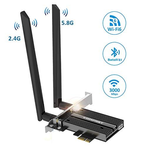 JOOWIN AX200 PCIe Netzwerkkarte 3000Mbps WLAN PCI-e Netzwerk Karte WiFi 6 PCIe WLAN Karte Bluetooth 5.1 Dualband WLAN-WiFi Adapter-Karte MU-MIMO Gigabit PCIe WiFi-Karte für Windows 10 64-Bit