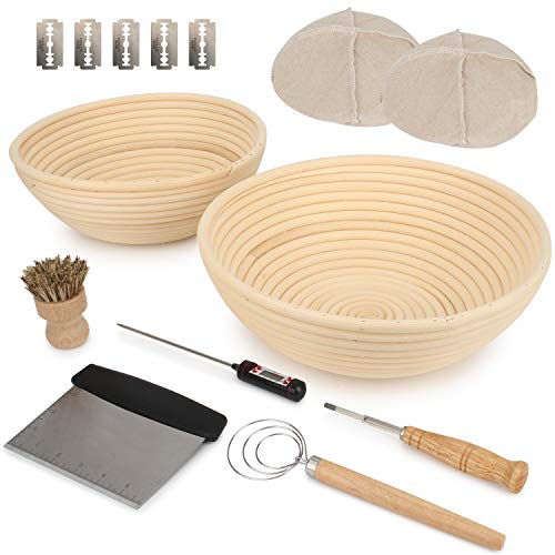 Duboché Bread Proofing Basket 2Pack - Round 9' & 10' Banneton Basket Bowls for Sourdough, Gluten-Free and Traditional Dough, Stainless Steel Scraper, Basting Brush, Metal Lame, Thermometer for Bakers