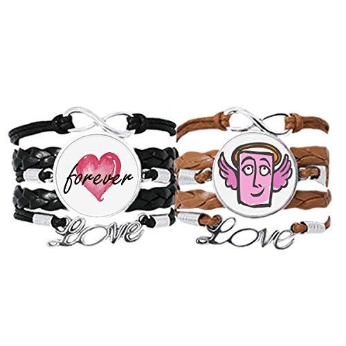 Bestchong Angel Abstract Face Sketch Happy Bracelet Correa de mano cuerda de cuero Forever Love Wristband Set doble