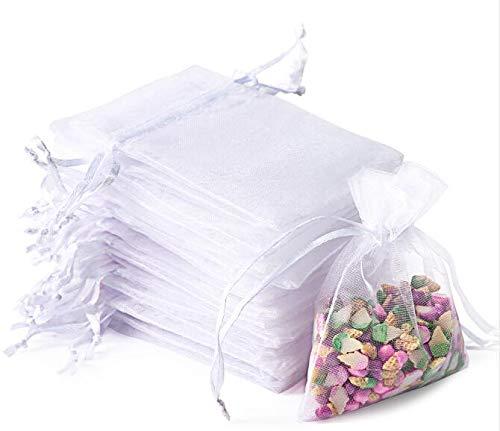 Wanap Säckchen Organzabeutel, OrganzaSäckchenKlein 7x9CM Lavendelsäckchen 100 Stück SäckchenzumBefüllen für Partei Schmuck Süßes Hochzeit, Weiß