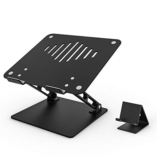 Kolasels Laptop Stand for Desk with Independent Phone Holder, Ergonomic Aluminum Laptop Riser, Adjustable Height Notebook Stand Compatible with Air, Pro, Dell, HP, Lenovo More 10-17.3' Laptops (Black)