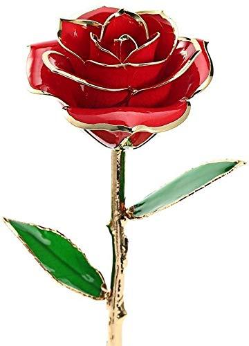 Rose éternelle en or 24 carats avec base et boîte, 27,9 cm de long, cadeau pour anniversaire, anniversaire de mariage, Saint-Valentin et fête des mères, violet, 11inches