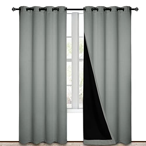 Grey Blackout Curtains 84 inches Long 2 Panels Burg, Heat and Noise Blocking Drapes for Bedroom Window, Thermal Insulated Living Room Lined Window Dressing(52 inches Wide Each, Free Tiebacks)