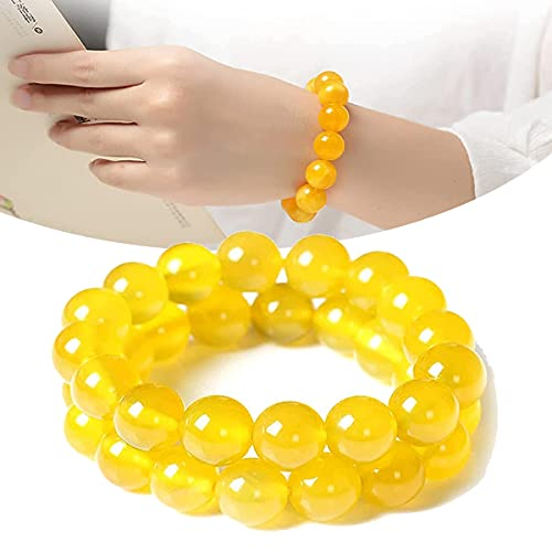OEMINI Yellow Jasper Body Cleansing Bracelet, 2Pcs Jade Chakra Cleansing Wealth Bracelet, Anti-Fatigue Beads for Reiki Healing Crystal Healing Energy Stone Improve Body Overall Health (6mm)