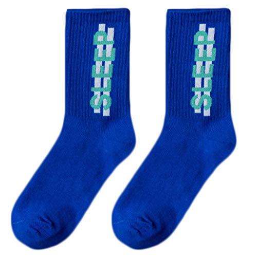 Vxhohdoxs Unisex Hip Hop Street Crew Socken Buchstaben Streifen Druck Neon Skateboard Strümpfe königsblau