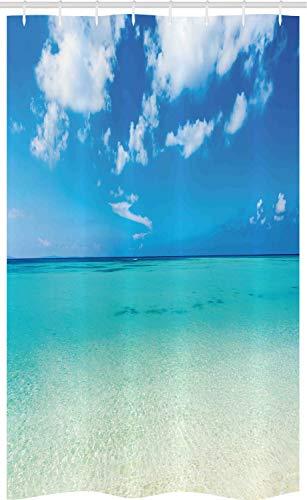 ABAKUHAUS Sommer Schmaler Duschvorhang, Ozean Dreamy Sea Beach, Badezimmer Deko Set aus Stoff mit Haken, 120 x 180 cm, Blau Türkis