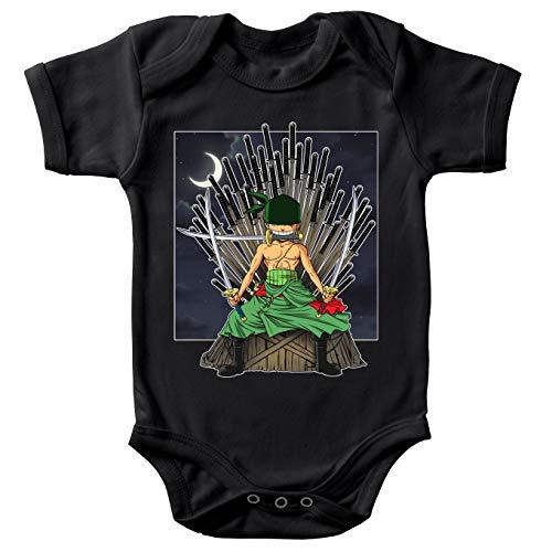 Body Bebè Nero a Maniche Corte Parodia One Piece - Il Trono di Spade - Roronoa Zoro X Eddard Stark (Body bebé di qualità Premium in Taglia 6 Mesi - Stampata in Francia - RIF : 869)