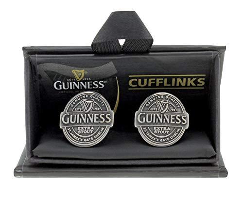 Guinness - Boutons de Manchette Étiquette Argent Antique