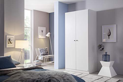 Rauch Möbel Buchholz Schrank abschließbar, Abschließbarer Kleiderschrank in Weiß 2-türig inkl. Zubehörpaket Basic 1 Kleiderstange, 4 Einlegeböden BxHxT 91x197x54 cm