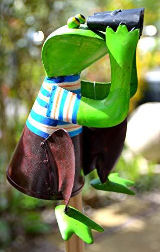 Zaunhocker Frosch- lustiger Zaungucker Frosch mit Fernglas- aus Metall, lackiert- für Haus und Garten, für Zaunpfähle, Pfosten am Gartenzaun, schön verarbeitet