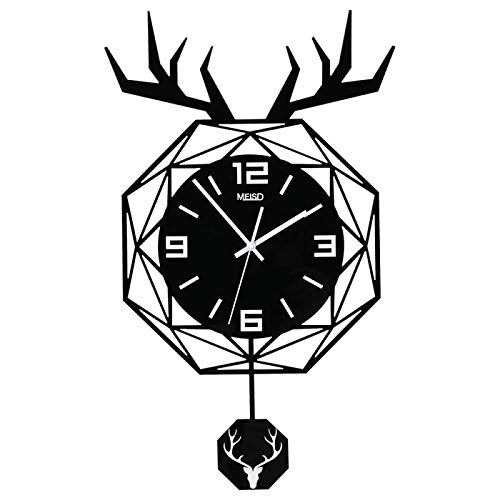 Reloj De Pared Reloj De Pared Grande De Péndulo Decorativo Acrílico Silencioso De Ciervo Clásico, Diseño Moderno, Sala De Estar, Decoración del Hogar,