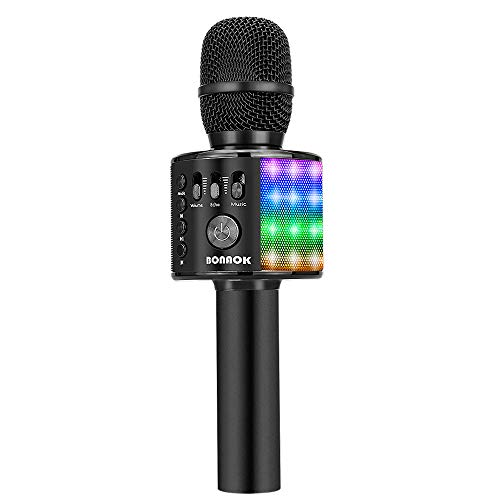 BONAOK Bluetooth Wireless Karaoke Microphone with LED Lights, 4 in 1 Portable Rechargeable Sing Mic Speaker for Android/iPhone/iPad/PC Christmas Kids Adults(Q37L BLACK)