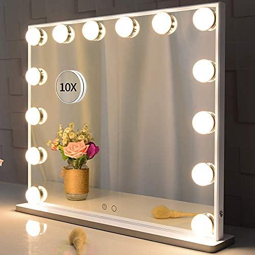 BEAUTME Grand Miroir de Maquillage avec Lumière avec Eclairage,Miroir de Courtoisie Hollywoodien avec Bouton Intelligent,Miroir 2 en 1 de Table ou mural,Miroirs cosmétiques à poser