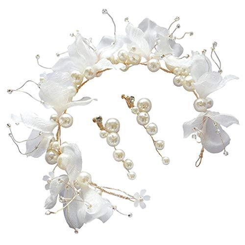 Beaupretty 3 piezas de perlas de flores con diadema de pendientes de enredadera de cabello hermosos hilos de tiara de corona de cabello de hilo blanco accesorios de joyería de novia de boda