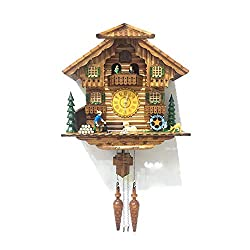 ALEKO CKC04 Handcrafted Cuckoo Wall Clock Home Art with Chirping Bird and Dancing Townsfolk 14.5 x 15 x 7 Inches Brown