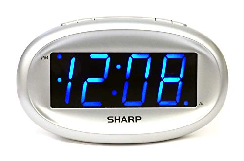 SHARP Digital Alarm Clock– Easy to Read Bright Blue LED Display – Elegant Clean Design - Battery Back Up - Simple Operation - Easy to Set-up - Great for Kids, Teens, Seniors - Bedroom, Kitchen, Office