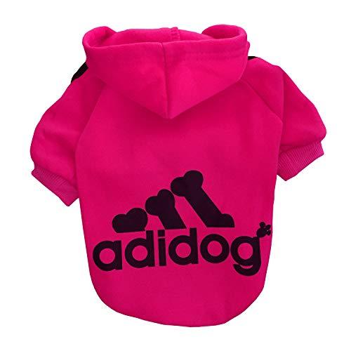 Rdc Pet Adidog Ropa para Perros Sudaderas con Capucha para Perros Suéter cálido de Lana Chaqueta de algodón Camisa Abrigo para Perro pequeño Gato (Carmín,S)