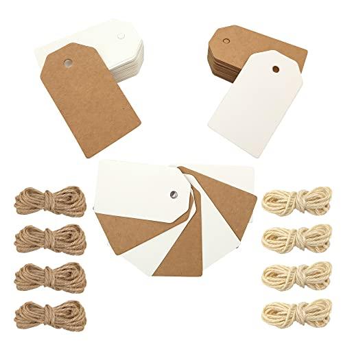 OnlyBP - Kit 100 etiquetas de papel kraft o craft con cuerda yute ideal para boda, bautizo, comunion o regalo