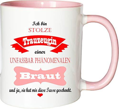 Mister Merchandise Becher Tasse Stolze Trauzeugin Einer unfassbar phänomenalen Braut Kaffee Kaffeetasse liebevoll Bedruckt traumhaft wahnsinnig fantatsisch Weiß-Rosa