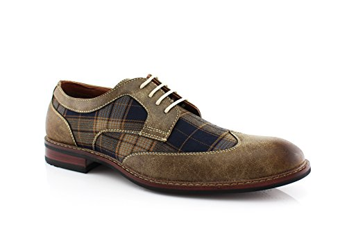 Ferro Aldo Julian MFA19266APL Mens Casual Plaid Wing Tip Perforated Mid -Top Brogue Oxford Dress Shoes – Brown, Size 13