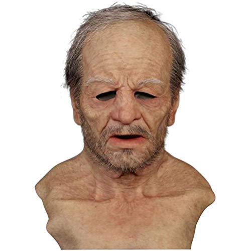 FEIDAjdzf Halloween Latex Senior Citizen Face Cover, Halloween Cosmticos Headgear Realista.
