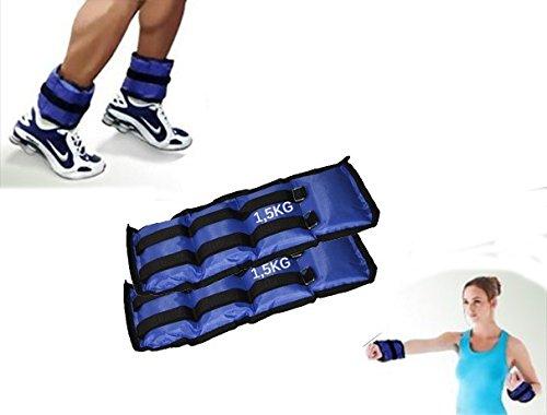 Coppia di pesi per caviglie e polsi fitness jogging palestra. MEDIA WAVE store (1,5 Kg)