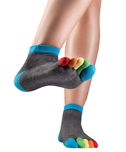 Knitido Rainbows, Kurze Zehensocken mit bunten Zehen, 95% Baumwolle, Größe:39-42, Farbe:Balloon Bubbles (111)