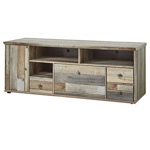 Bonanza Vintage TV-Board in Driftwood Optik - ausdrucksstarkes Retro Low-Board für Ihr Wohnzimmer - 162 x 61 x 52 cm (B/H/T)