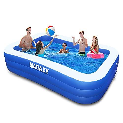 Inflatable Pool, MADAXY Swimming Pool for Kids and Adults, 120  X 72  X 22  Oversized Thickened Family Inflatable Pool for Kids, Toddlers, Adult, Outdoor, Garden, Backyard, Summer Water Party