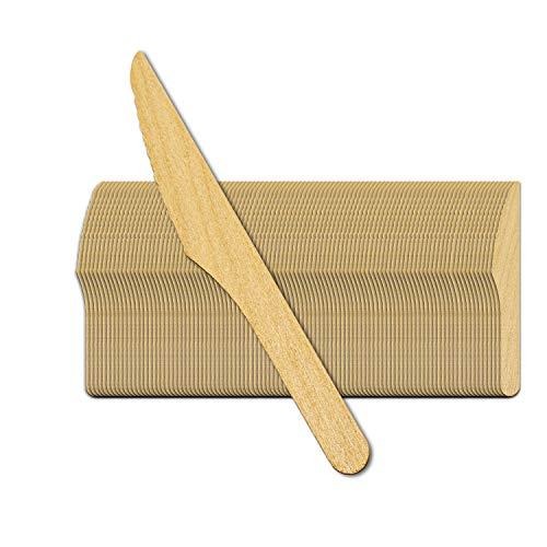 Silverkitchen 100x Bio Holzmesser Holz Einweg Messer 16cm biologisch abbaubar umweltfreundlich stabiles Einmalbesteck 100% natürlich für Geburtstag Hochzeit Grillfest Catering Picknick UVM