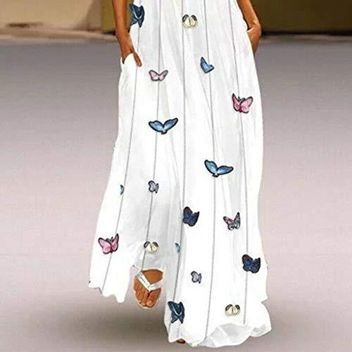 Overdose Maxi Vestidos para Mujer Vintage Diario Informal Boho sin Mangas de Rayas con Cuello en v Mariposa Impreso Verano sólido Vestido Suelto más el tamaño S-XXXXXL